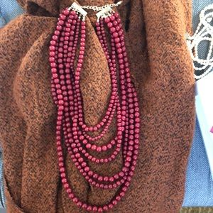 Bright red bauble bar statement necklace!